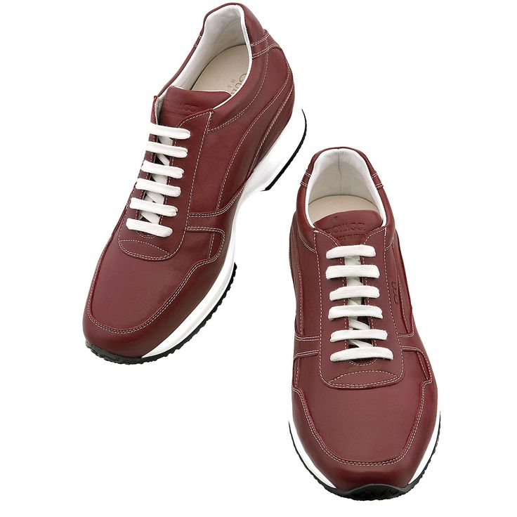 Elevator Shoes for Women : Amsterdam W. Upper in bordeaux red full grain leather, lining in soft goatskin, lightweight high quality rubber outsole anti-slip. Hand Made in Italy.