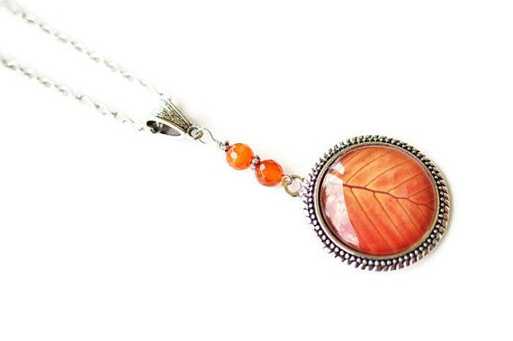 Leaf Necklace Orange Necklace Autumn Necklace Silver by harmony5