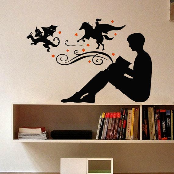 wall decal vinyl sticker fairy tales reading books knight dragon chase good and evil good night