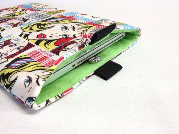 Retro PopArt Print Laptop Slipcover Fully Padded and by QuiltyCo, $25.00