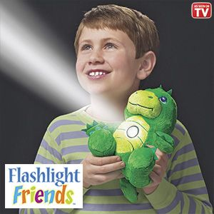 "Product # HC6654 - Huggable, lovable playmates turn on with just a tap! Kids will never feel alone in the dark when this cuddly, plush pal's comforting light is glowing. Cool-to-the-touch flashlight has a 10-minute auto shut-off feature. Great at bedtime; makes a fun reading light too! Requires 3-AAA batteries (not included). Ages 4+. Approx. 9""H.   $27.98"