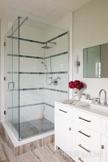 Glass Shower With Limestone Band Tiles | Photo Gallery: Sarah Richardson  Designs | House