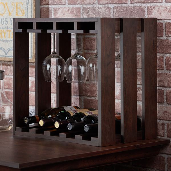 Furniture of America Elma Rustic Vintage Walnut Wine Rack | Overstock.com Shopping - The Best Deals on Wine Racks