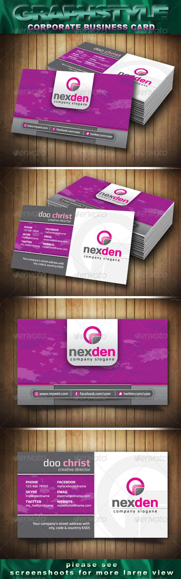 15 best buisness cards images on pinterest business card design buy nexden corporate business card by graphstyle on graphicriver nexden corporate business card print dimension with bleed trim mark well layered reheart Image collections