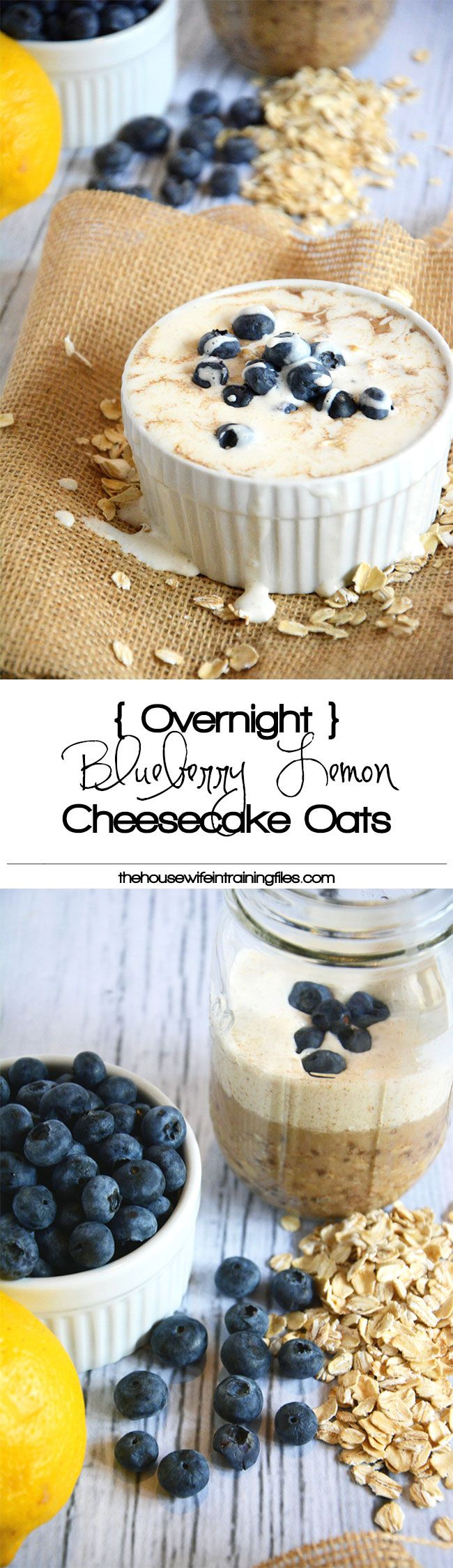Cheesecake flavored oats bursting with lemon and blueberries, all come together in a protein packed, make ahead breakfast! #overnightoats #cheesecake #glutenfree