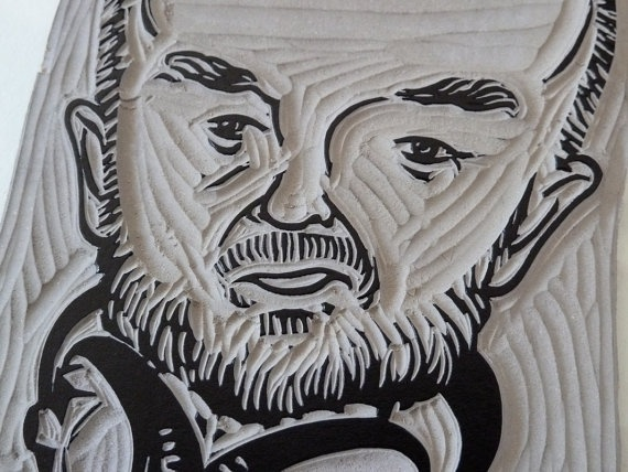 John Peel linocut in close-up. Available from my Linocutboy Etsy shop https://www.etsy.com/listing/97764367/john-peel-portrait-in-linocut?listing_id=97764367_slug=john-peel-portrait-in-linocut