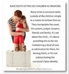Narcissists use child alienation as punishment against all family members, including uncles, aunts and grandparents. Children should NEVER be used as pawns because of disagreements or arguments. Child alienation is all about control and manipulation!