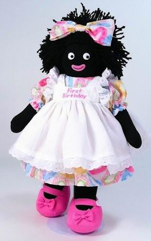 Gorgeous 1st birthday golliwog! $89.95 www.marliandmo.com.au Your little girl will love this very special golliwog on her first birthday. She is dressed in a floral dress with white apron trimmed with lace. Has First Birthday written on front of apron. Pink shoes and floral bow in her hair completes a very cute outfit.