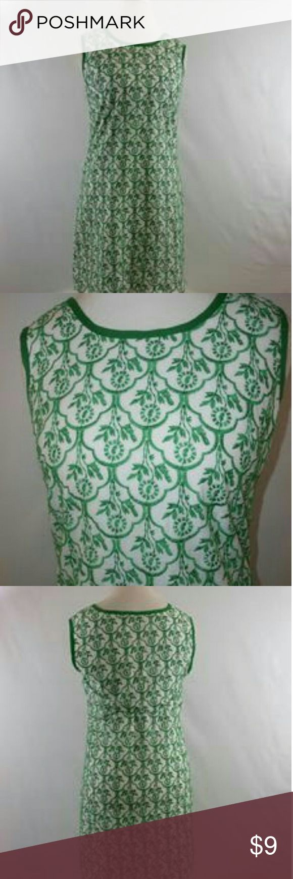 """Sophie Max Green Print Dress Sz Medium A green and white print dress by Sophie Max. It is a size medium. It is a pull over style. Made of 100 % cotton. Measurements shoulder to shoulder 15 """" pit to pit 18"""" waist 18"""" length 35""""  A40 Sophie Max Dresses Mini"""