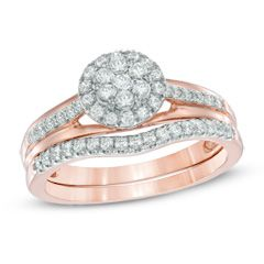 0.50 CT. T.W. Diamond Cluster Frame Bridal Set in 10K Rose Gold  - Peoples Jewellers