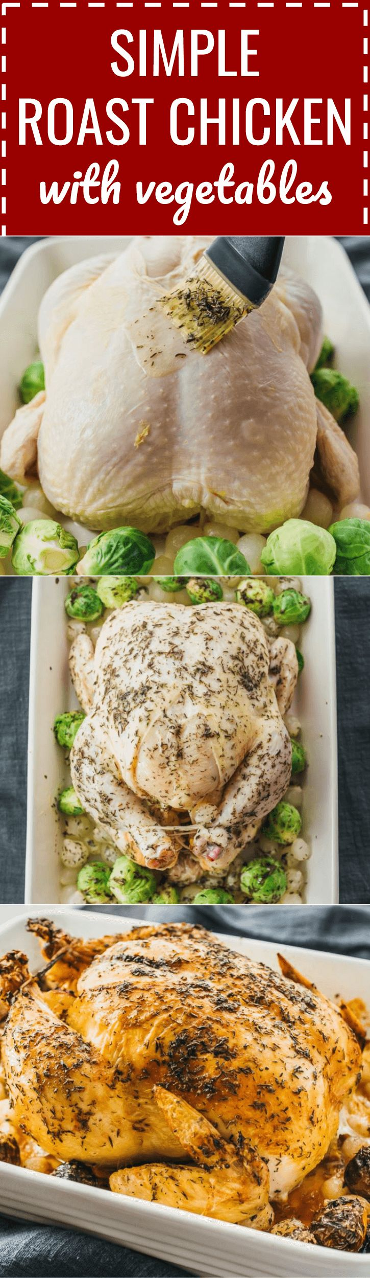 A simple roast chicken recipe served with vegetables including brussels sprouts and onions. in oven / and vegetables / perfect / seasoning / lemon / garlic / stuffed / how to / juicy / with stuffing / sunday / ideas / illustration / temperature / ina garten / easy / herb / holiday / christmas / thanksgiving / keto / low carb / diet / atkins / induction / meals / recipes / easy / dinner / lunch / foods / healthy / gluten free / paleo / best / crispy / pan #chicken #vegetables