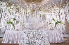 Нежная орхидея, оформление свадьбы от Юлии Шакировой, декор торжественного зала, стол молодожёнов