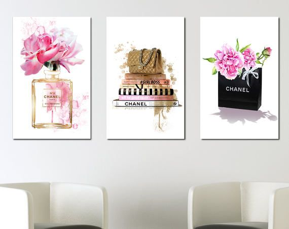 Coco Chanel Posters Designer Print Set Chanel Perfume Bottle Chanel Bag Fashion Books Chanel Wall Art Chanel Wall Art Chanel Decor Chanel Decor Bedrooms