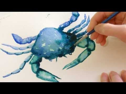 Watch me paint you a simple watercolor crab demo. In 30 minutes you can create a simple blue and green crab