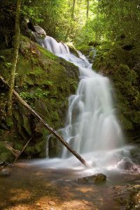 Mouse Creek Falls on Smoky Mountain trail with waterfall