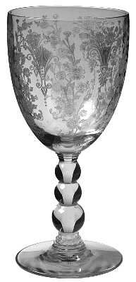 """""""First Love"""" glass pattern with ornate etched damask flourishes & flowers from Duncan & Miller."""