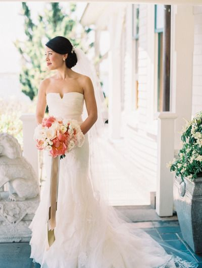 We love this bride's wedding day look: http://www.stylemepretty.com/rhode-island-weddings/2014/09/29/charming-nautical-rhode-island-wedding/ | Photography: Mirelle Carmichael - http://www.mirellecarmichael.com/