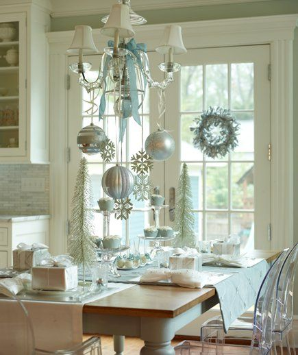 ~♥~♥~: Christmasdecor, Decor Ideas, Blue Christmas, Christmas Tables, Decoration, White Christmas, Holidays Decor, Christmas Decor, Ornaments