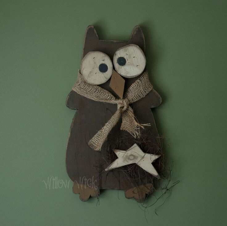 Primitive Country Hanging Wooden Owl - Brown # ...