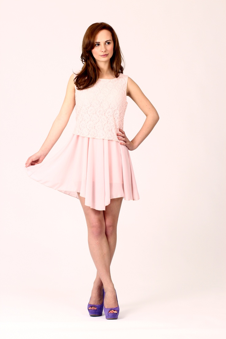 LARA Lace Block Mini Dress Pale Pink