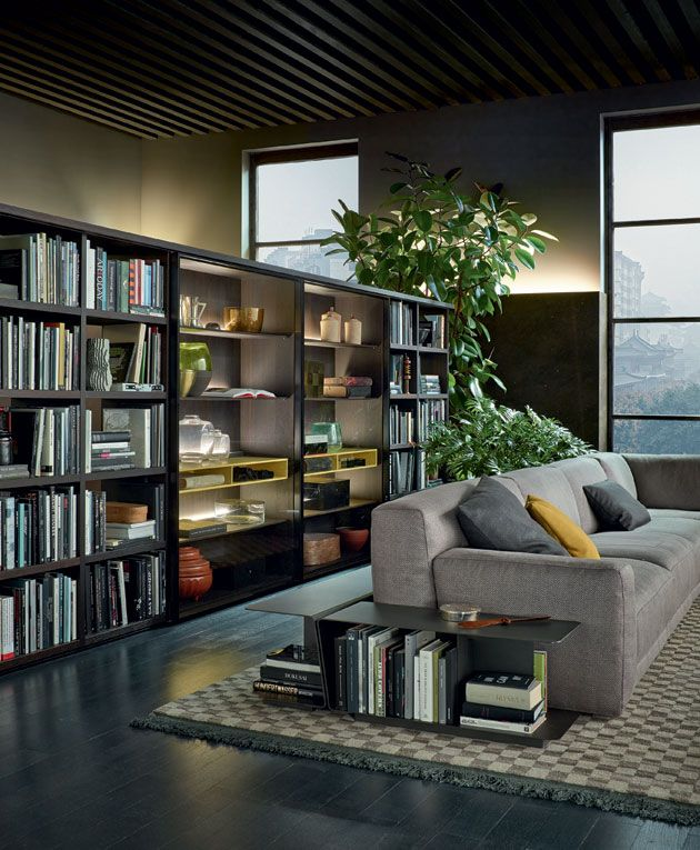 Free Standing Wall Bookcase System By Poliform I Also Like The Book Storage And End Table
