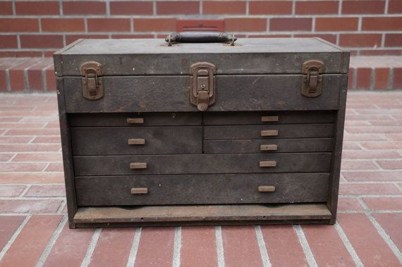 Vintage Kennedy Tool Box - Antique Metal Tool Box - Industrial Decor - Vintage Toolbox - Metal Drawer Storage - 1950s Kennedy Kit Tool chest