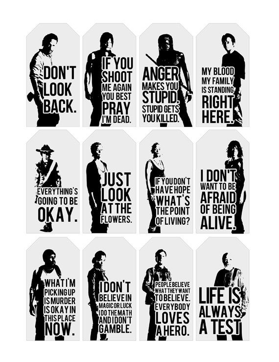 Walking Dead Quote Gift Tags  Printable  Typography by CraftyGoode