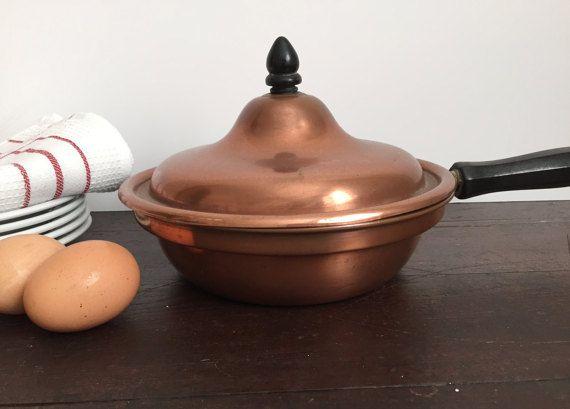Vintage Copper Pot Copper Saute Pan Copper by SunnyHillVintage