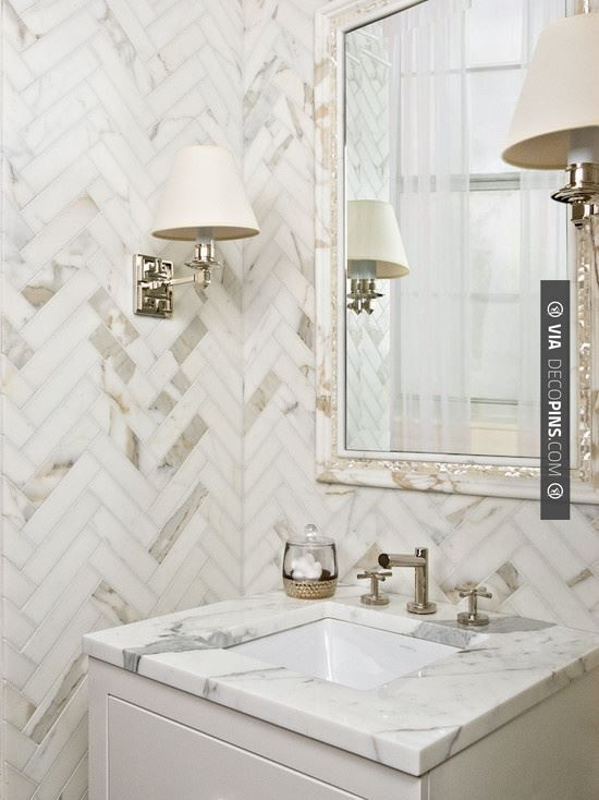So cool - herringbone tile | CHECK OUT MORE VANITIES AND VANITY IDEAS AT DECOPINS.COM | #vanities #vanities #vanity #jewelrydrawer #jewelrychest #jewelry #mirror #mirroredvanity #jewels #frenchvanity #antiquevanity #bluevanity #purplevanity #pinkvanity #blackvanity #whitevanity #redvanity #greenvanity #yellowvanity