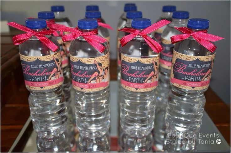 Custom made water bottle labels for Burlesque Theme moulin rouge Bachelorette Hens party created by : ** Styled & Designed by BoutiQue Events Please 'Like' my Facebook page : www.facebook.com/styledbytania **