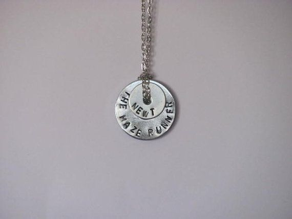 "The Maze Runner Hand Stamped Washer Necklace on Chain - ""The Maze Runner"" ""Newt"""