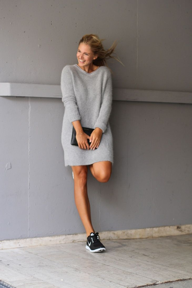 Grey sweaterdress, black sneakers
