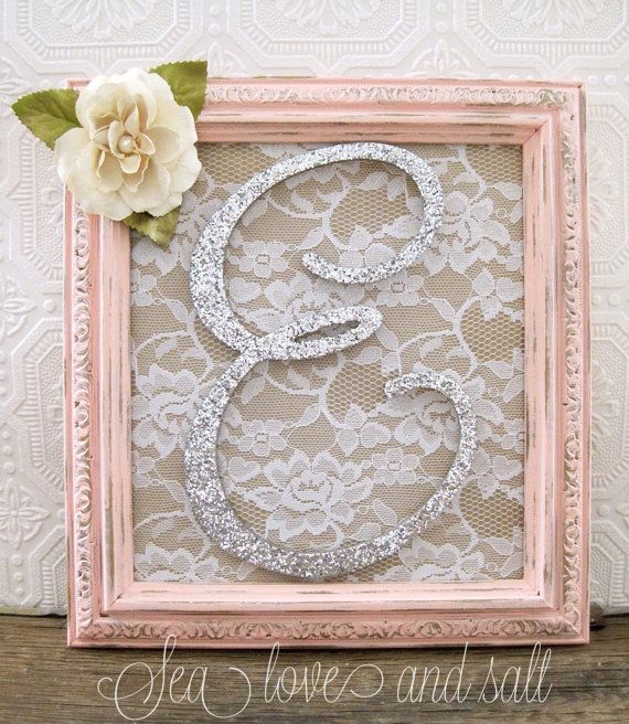 Large Letter E Pink Nursery Decor Baby Girl by SeaLoveAndSalt