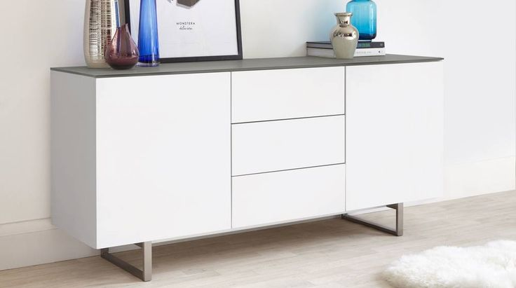 Large matt grey and frosted glass sideboard