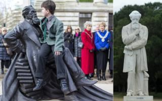 Statues of English author Charles Dickens