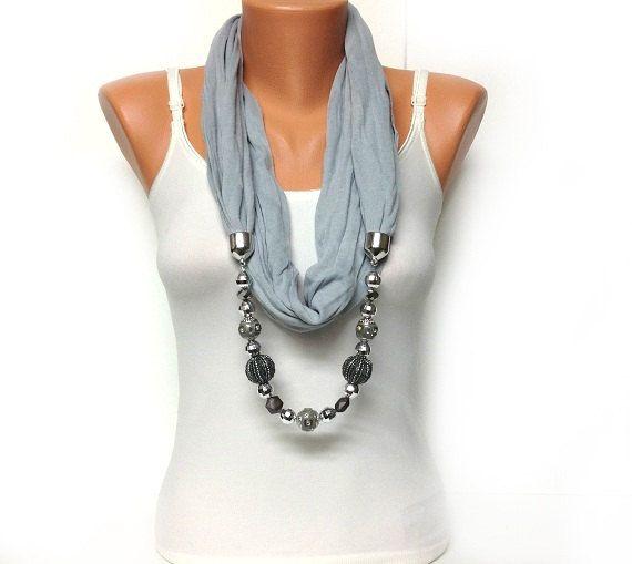 grey jewelry scarf high fashion grey scarf with di BienBijou