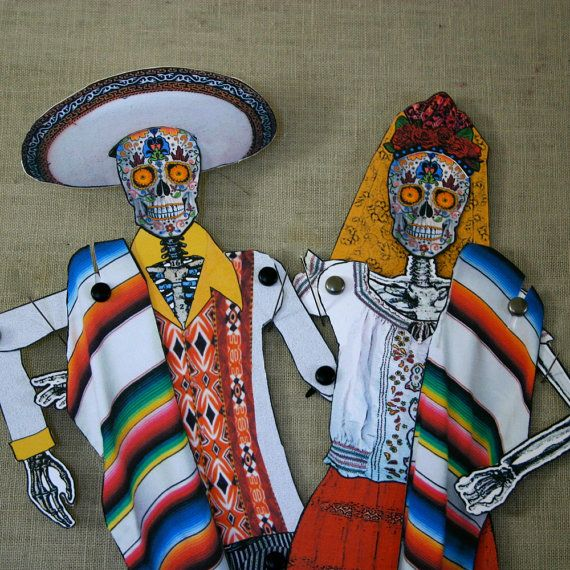 Dia de Los Muertos Articulated Paper Doll Couple by curlycuedesign