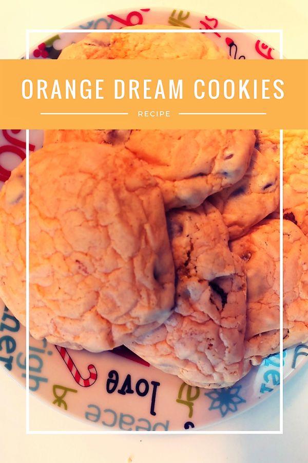 Orange chocolate chip cookies made with orange cake mix.