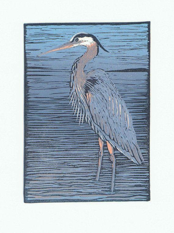 Great Blue Heron Block Print by JGTentas