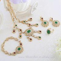 Caliente venta de Rhinestone púrpura/verde colgante Alá musulmán Dubai joyas enchapadas oro conjunto para las mujeres de novia Venta por mayor-WesternRain