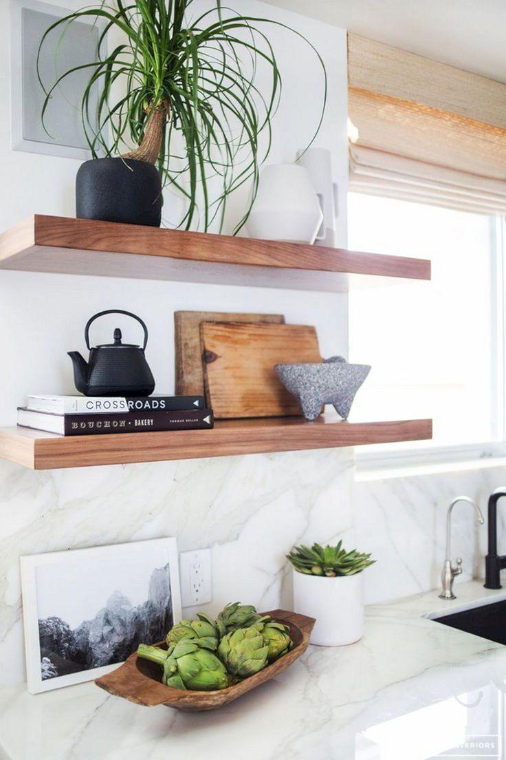 50 Gorgeous Reclaimed Wood Wall Shelves For Beautiful Kitchen Freshouz Com With Images Kitchen Shelf Decor Floating Shelves Kitchen Modern Shelf Decor