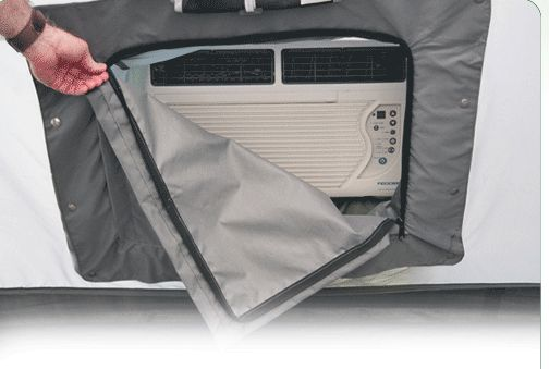 Put an a/c boot into any tent easily with this kit.  It's not cheap, but it looks a lot better than glue-on Velcro & some duct tape!
