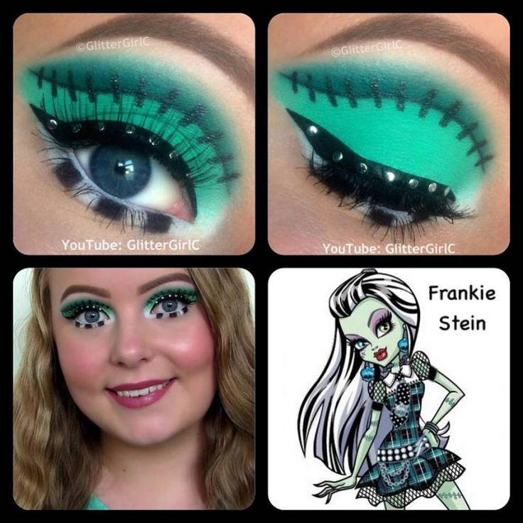 Monster High Frankie Stein Makeup I would paint her face green, and do this makeup with purple instead of the green
