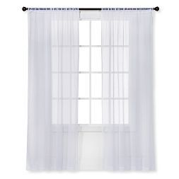 Snow White Sheer Curtain Panel Crinkle - Room Essentials™