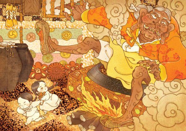 - 도깨비할멈에게서 도망치는 오누이  -  헨젤과 그레텔  독일의 언어학자이자 작가인 그림형제(Brüder Grimm)가 《어린이와 가정을 위한 동화집(Kinder-und Hausmärchen)》에 수록한 이야기로, 동생 빌헬름 그림(Wilhelm Grimm)의 아내 도르첸 빌트(Dortchen Wild)에게 들은 구전동화를 재구성 한 것이다.  옛날에 두 남매 헨젤과 그레텔이 가난한 나무꾼 아버지, 마음씨 고약한 새어머니(계모)와 함께 살고 있었다. 너무 가난했던 나머지 네 식구가 먹을 식량이 부족해지자 새어머니는 나무꾼에게 아이들을 깊은 숲속으로 데려가 버리자고 제안한다. 우연히 이를 듣게 된 헨젤과 그레텔은 밤에 몰래 나가 하얀 자갈을 주워오고, 다음 날 계모와 함께 숲으로 들어 가는 길에 이것들을 흘려둔다. 남매는 숲길 중간중간에 흘려둔 자갈을 따라 무사히 집으로 돌아오지만, 계모는 다시 한 번 아이들을 버리기로 계획한다. 계모는 아이들이 자갈을 주우러 가지 못하도록…
