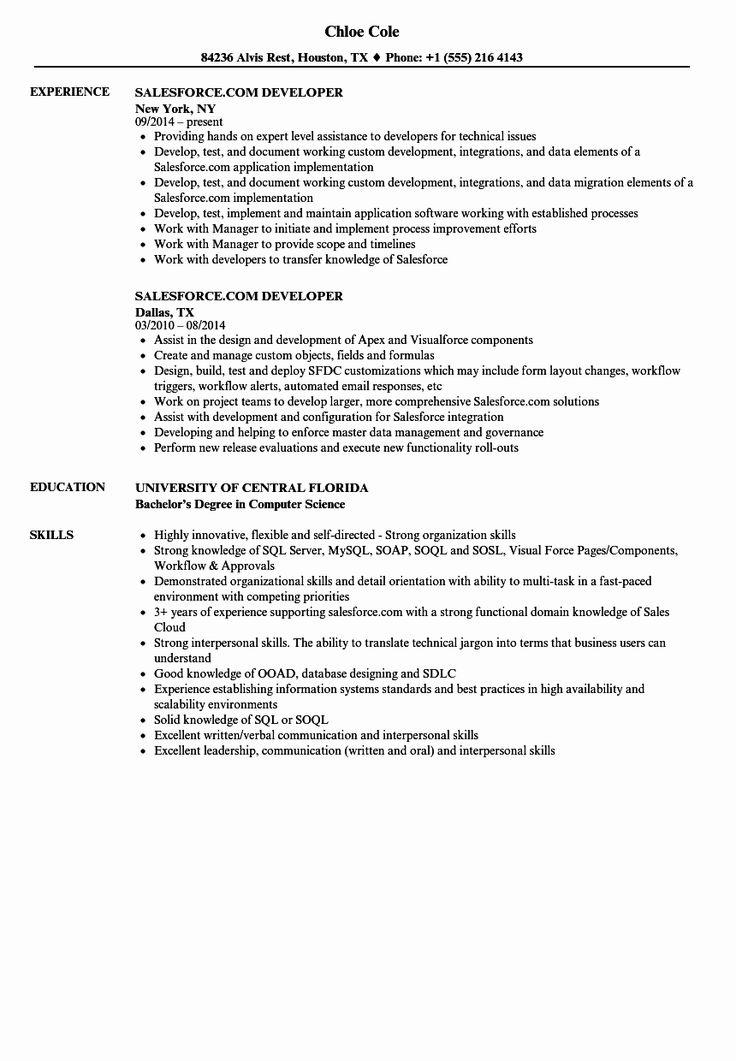 Salesforce Administrator Resume Examples Luxury Salesforce