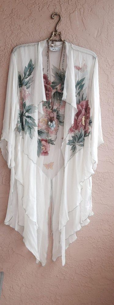 Image of Gypsy Bohemian Silk Beaded   kimono with Roses ruffles