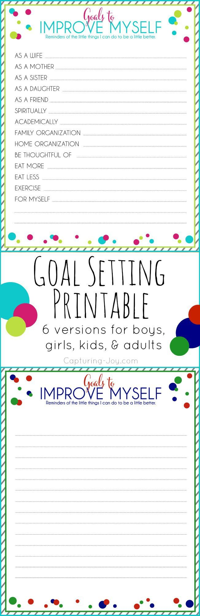 Goals to Improve myself Free Printable Goals printable