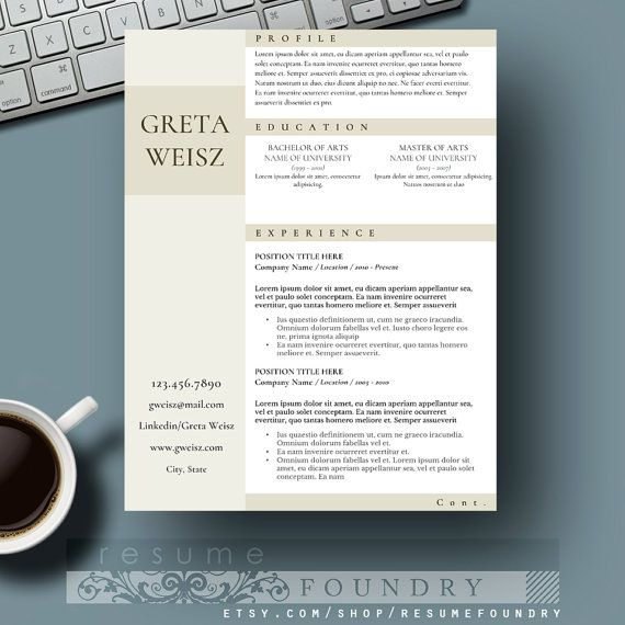 Creative Resume Template / CV Template + Cover Letter for MS Word | Instant Digital Download | Teacher Resume | Professional Resume  Very classy resume template