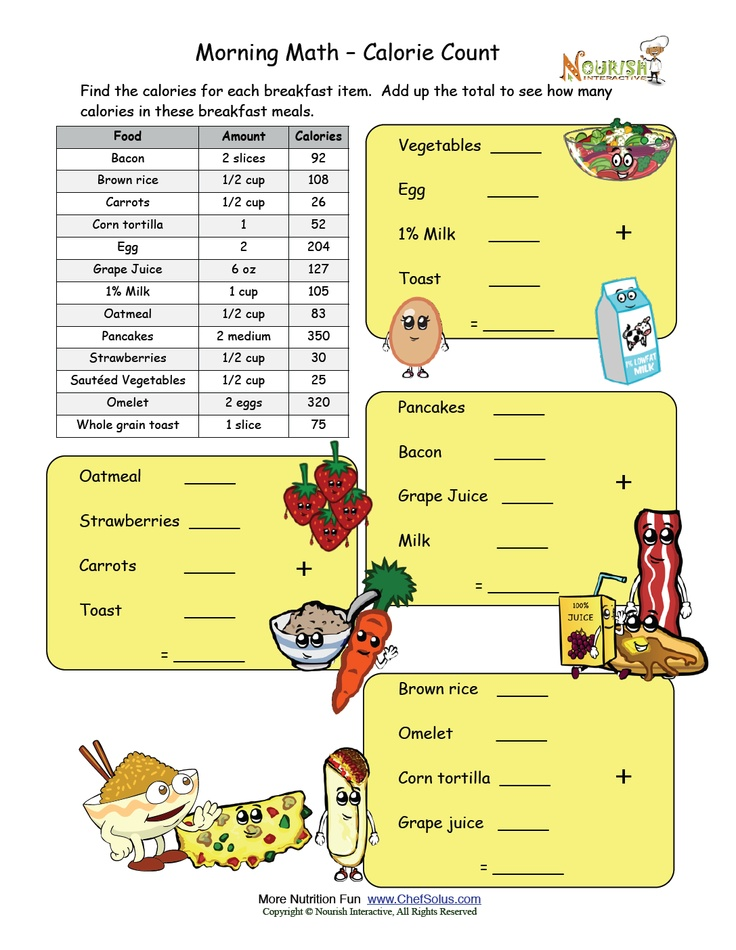 morning math calorie count nutrition worksheets and games pinterest count math night and math. Black Bedroom Furniture Sets. Home Design Ideas